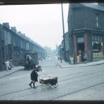 Photograph of Rupert Hill slum Liverpool, including woman with a baby in a carriage, circa 1950s