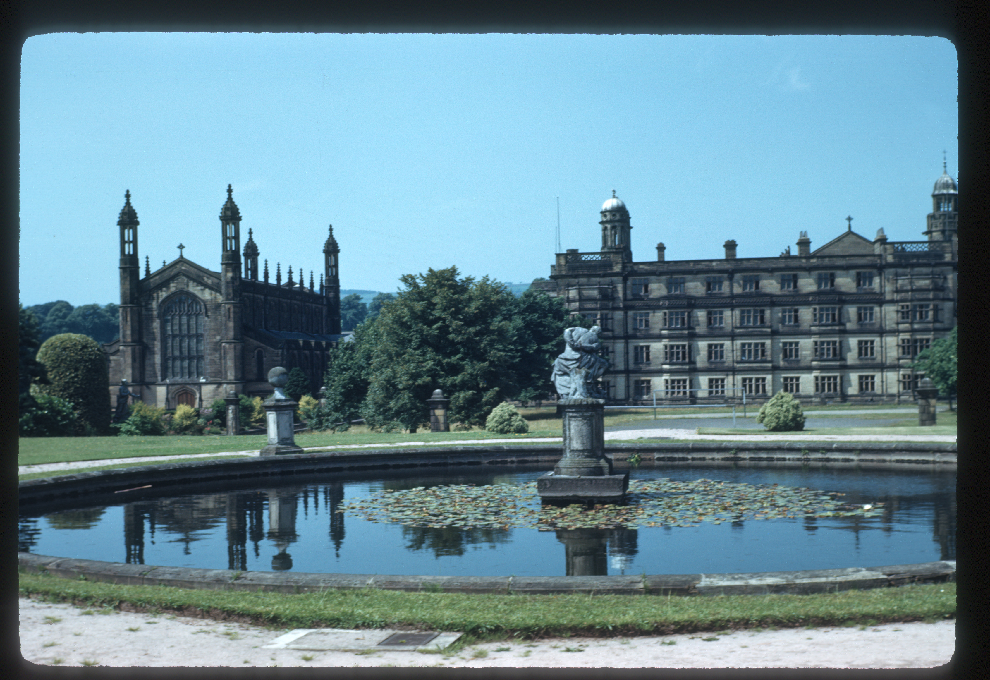 photograph of Stonyhurt buildings, including a fountain, a view of Hopkin's room from the outside, and the school chapel
