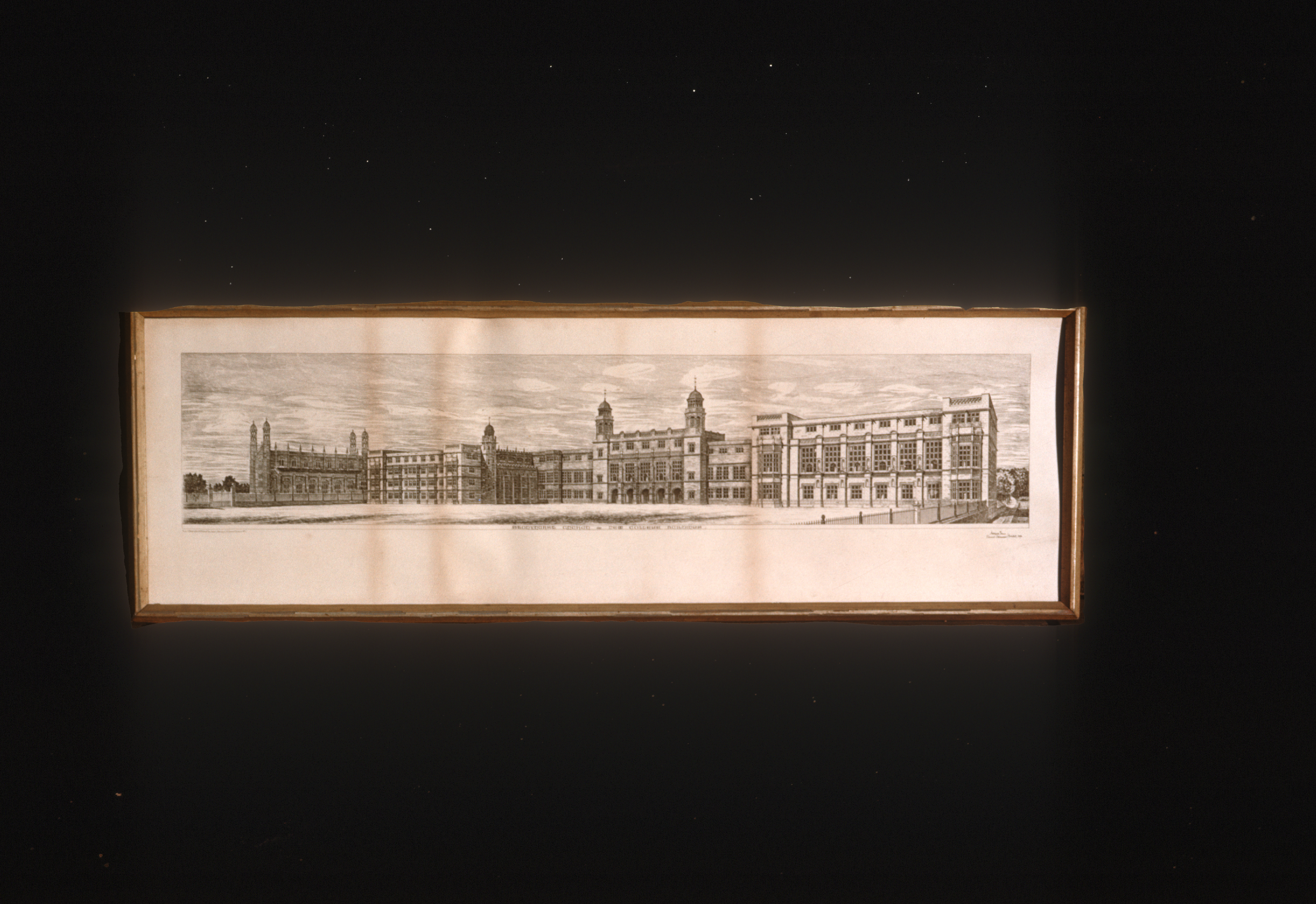 photograph of a framed drawing of the front side of Stonyhurt buildings from 1878