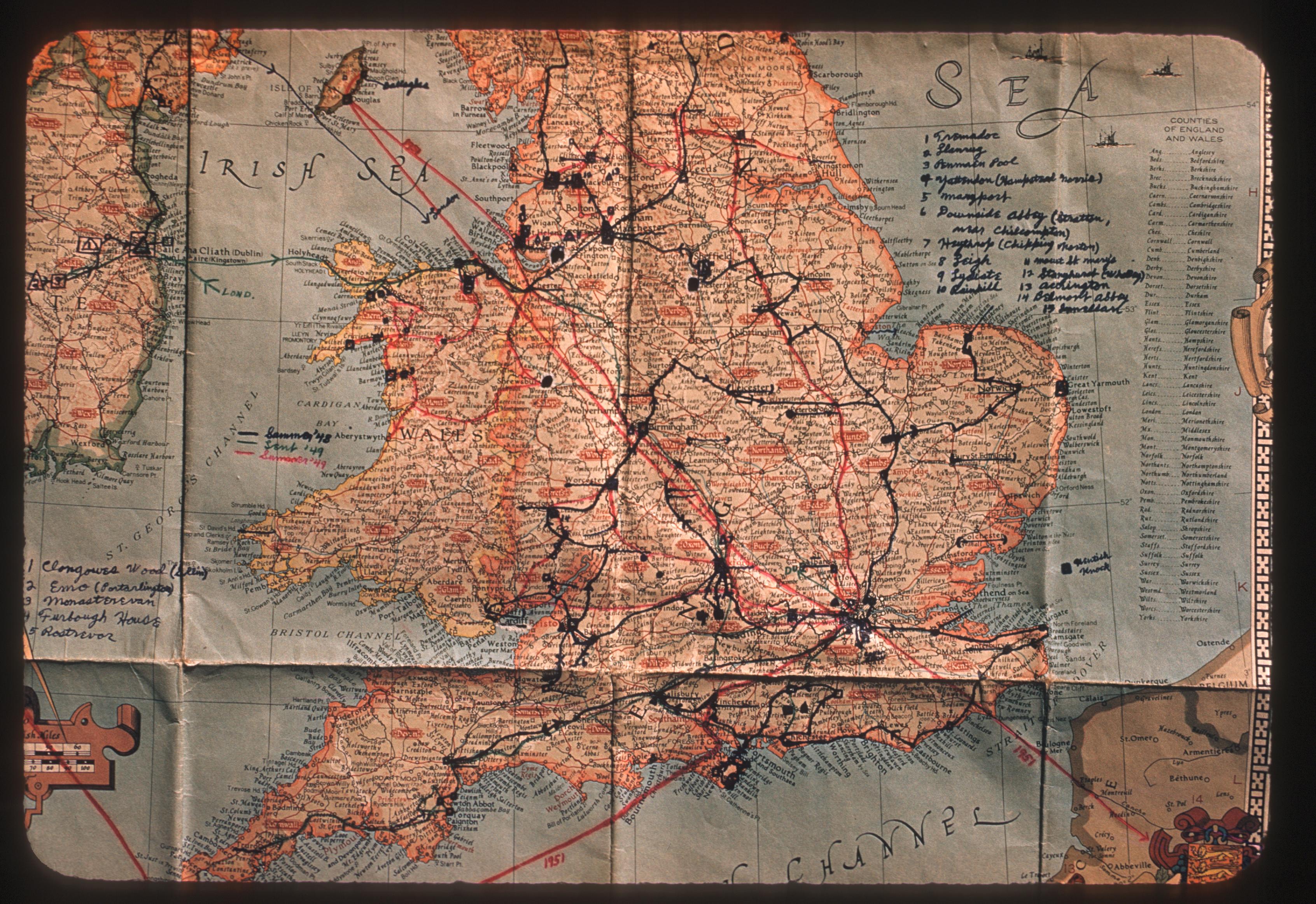 Map of England circa 1950s