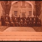 a photograph of Hopkins and twenty two other Jesuits formally posing